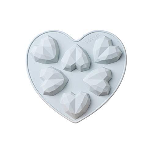 joyliveCY Silikon SchokoladeHerz Kuchenform, Formen Silikonform Schokoladenformen 3D Silikon Kuchenform Diamant Herzform Love Heart Backwerkzeuge-(Blaues kleines 3D-Liebesherz)