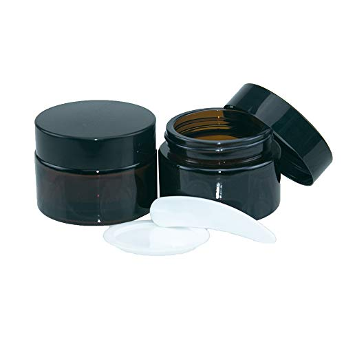 10pcs 30ml Bocal en verre Ambré, Rechargeable Cosmétique Outil de Maquillage de Conteneur Pour l'emballage de Voyage,avec Noirs Couvercle et Doublure (30ml)