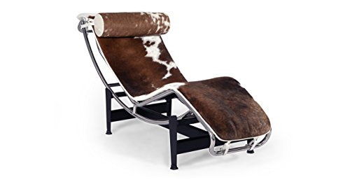 Kardiel Le Corbusier Style LC4 Chaise, Brown & White Cowhide w/Matching Pillow