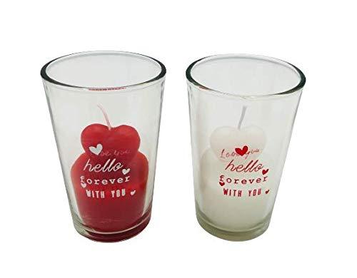 Vela Cristal Cera en Forma de Corazón Perfumada – Día de la Madre – San Valentín – Día de los Enamorados -Vasito con Vela – Precioso Detalle de Amor Pareja Novios - Medidas 7x7x9,8cm (Blanca)