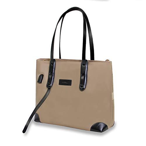 Kamlui Laptop Tote Bag Woman Cute Waterproof Fashion USB Teacher Work Purse Office Computer Organizer Bag Fits 15.6 inch Laptop MacBook Pro Air HP Dell (Khaki)
