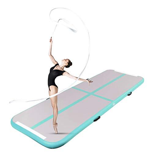 GOPLUS Air Track Tumbling Matte aufblasbare Gymnastikmatte Yogamatte Trainingsmatten Weichbodenmatte Turnmatte Fitnessmatte mit Pumpe tragbar Farbwahl 300x100x10cm (Grau + Grün)