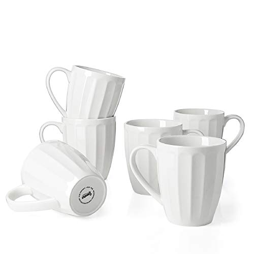 Sweese 602.001 Porcelain Fluted Mugs - 14 Ounce for...