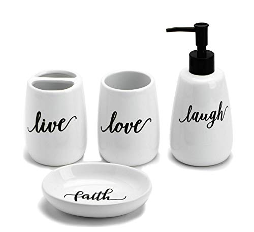 Adavas.Y&G 4pc Ceramic Bathroom Set with Sweet Quotes, Durable Bathroom Accessores Set W/Toothbrush Holder,Soap Dispenser,Tumbler, Soap Dish,Great for Farmhouse Decor (White 1)