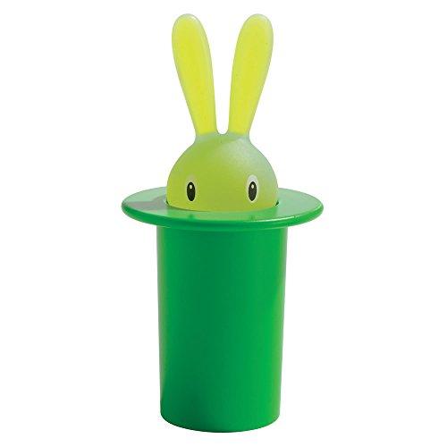 Alessi Magic Bunny Zahnstocherbehälter, grün, Acryl, 6 x 8.5 x 26 cm