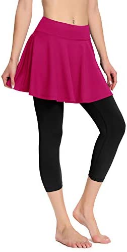 Womens Skirted Leggings with Pockets Yoga Capris Leggings with Skirt Workout Running Tights product image