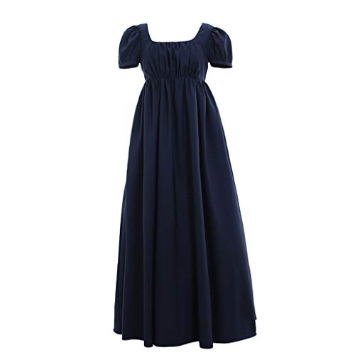 1791's lady Vintage Ballkleid mit hoher Taille - Blau - X-Small:Höhe 61-63 Bust 32-33 24-25W