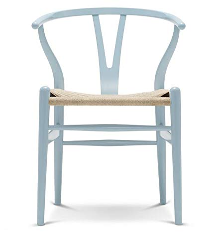 Carl Hansen CH24 Wishbone stoel, beuken/lichtblauw Natuurlijk vlechtwerk.