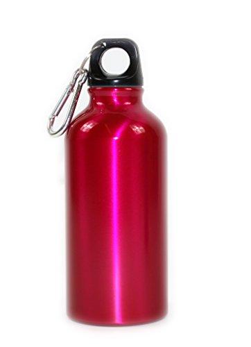 Giftsbynet Botellas de aluminio rosa y azul con mosquetón de 400 ml, ideales para deportes, camping o escuela (pincho)