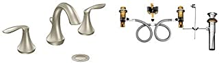 Moen Eva Two-Handle High-Arc Bathroom Faucet Bundle (Brushed Nickel) complete with Moen 9000 Widespread Lavatory Rough-In Valve with Drain Assembly