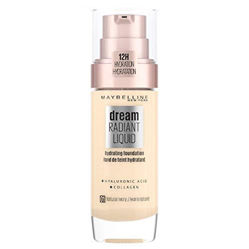 Maybelline New York Dream Radiant Liquid Make-up - flüssige Foundation mit Hyaluronsäure und Kollagen, Feuchtigkeitsspendend, mittlere Deckkraft, seidiges Finish, Nr. 1 Natural Ivory, 30 ml