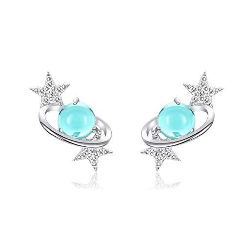 NewL Pendientes de plata de ley 925 con diseño de planeta azul con estrellas para mujer
