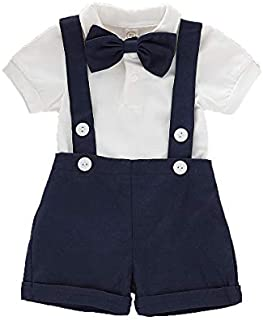 Baby Boys Gentleman Outfits Set Short Sleeve Romper with...