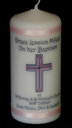 Personalised Baby Girl Baptism Personalised Candle Gift