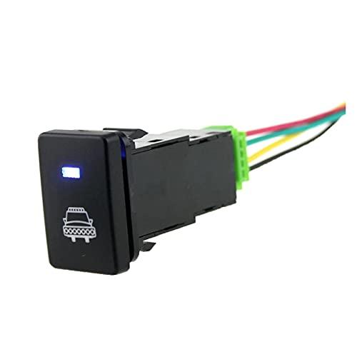CMEI Interruptor de botón de cabeza de 12V impermeable con azul DIRIGIÓ Ajuste adecuado para Toyota