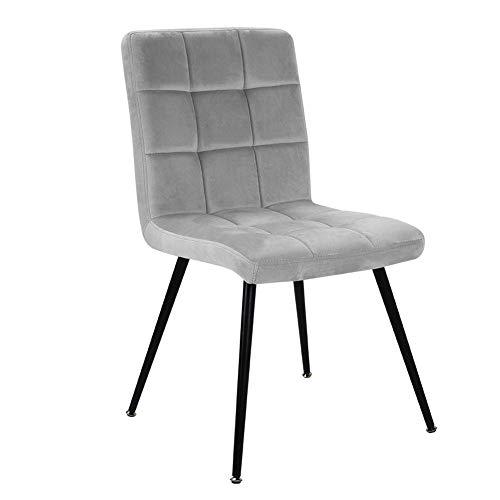 Eetstoelen, zware enkele luie bank Zacht fluwelen eetkamerstoel Relax lounge stoel Fauteuil Accent stoel met stevige stabiele metalen poot en rugleuning voor eetkamer Woonkamer Grijs, 84,5x50x43,5cm