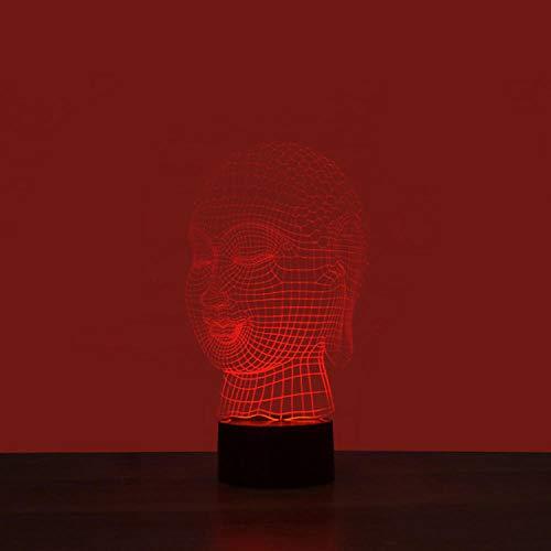Buda decorativo Luz de noche 3D colorida Interfaz USB Luz visual creativa Luz de arte táctil-Toque de siete colores