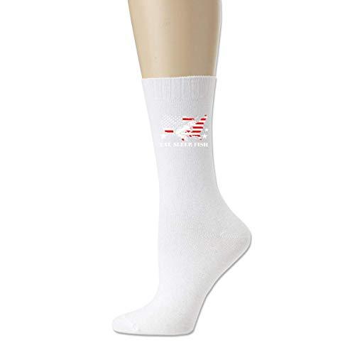 shenguang American Fish Flag Patriotic Fishing Cotton Crew Calcetines deportivos para hombres y mujeres Calcetines de algodón