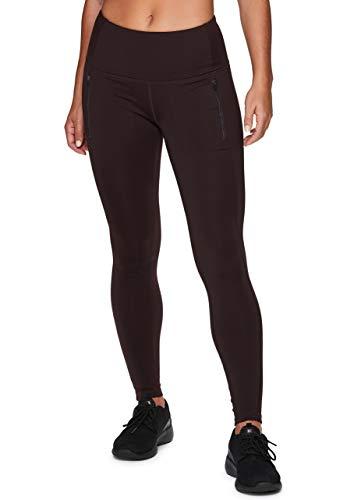 RBX Active Women's Full Length Athletic Performance Fleece Lined Running Yoga Leggings with Zipper Pockets F-19 Dark Purple M