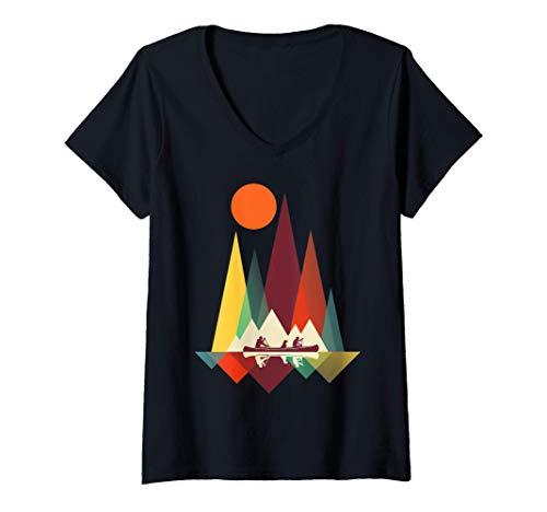 Mujer Geometría de montaña mínima Senderismo al aire libre Camping Camiseta Cuello V
