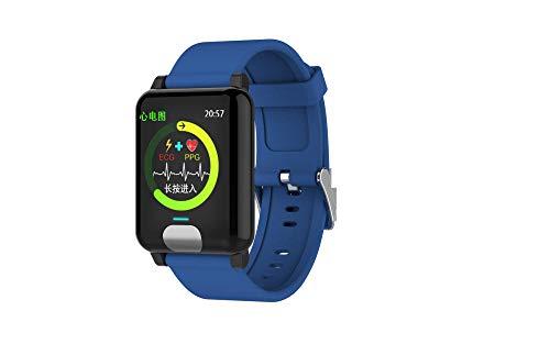 YCMTZ@ Smart Armband 1,3 Zoll Farbbildschirm EKG Herzfrequenz Blutdruckmessung Wasserdicht Schrittzähler Multifunktionsuhr, blau