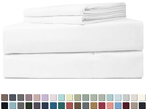 Five Elements 400-Thread-Count 100% Cotton Sheet Set Pure White Queen Size, 4-Piece Extra Long-Staple Luxury Hotel Best Bedding Bed Sheets, Soft & Silky Sateen, Fits Mattress Upto 18'' Deep Pocket