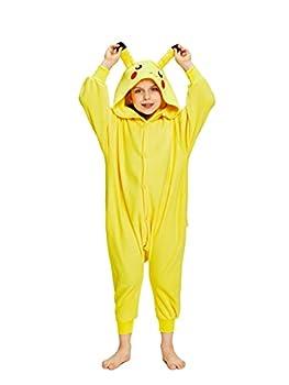 NEWCOSPLAY Unisex Kids Pikachu Plush Pajamas Halloween Cosplay Costume  Yellow 5T