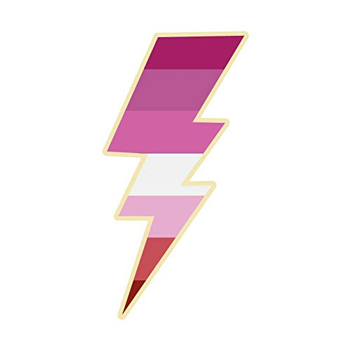 Dark Spark Decals Lesbian Lightning Bolt Pride - 4 Inch Full Color Vinyl Decal for Indoor or Outdoor use, Cars, Laptops, Décor, Windows, and More