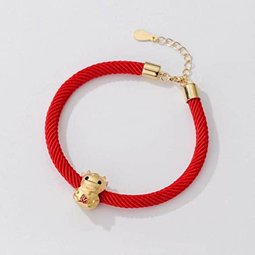 BEWITCHYU S925 Pulsera de Becerro de Oro Simple de Plata, Joyería de Mano de Hilo Rojo para el Año de Nacimiento de la Damapulsera de plata s925