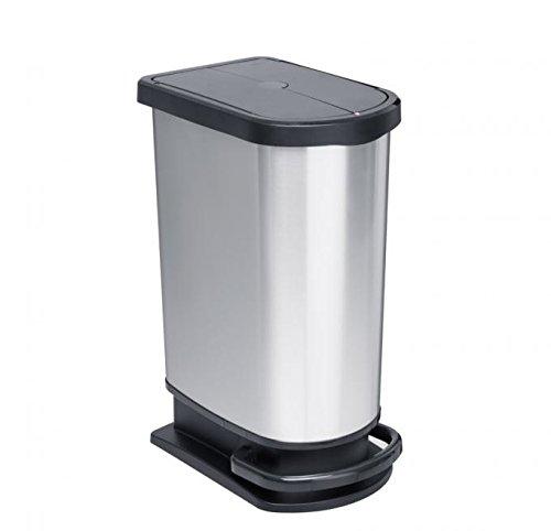 Rotho Mülleimer Mono PASO, geruchsdichter Abfalleimer aus Kunststoff in Edelstahl-Optik (PP), Treteimer mit 50 Liter Inhalt, ca. 44 x 29 x 67 cm
