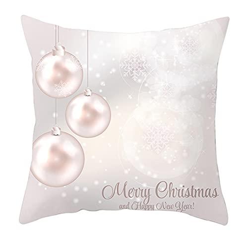 Funda de cojín de Navidad, color rosa, funda de almohada para sofá, decoración de Navidad, 10 unidades