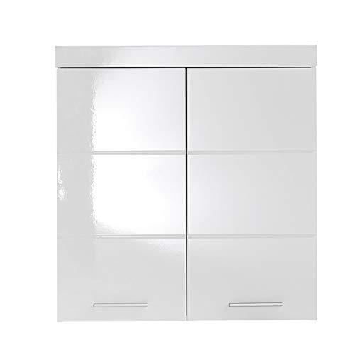 trendteam smart living Armario de pared suspendido para baño Amanda, 73 x 77 x 23cm, en blanco y blanco de brillo intenso, con abundante espacio de almacenamiento