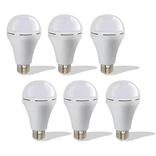 JYKFJ Confezione da 6 lampadine di Emergenza Portatile, Lampadina Ricaricabile a LED 18w 1200mah, Bocca a Vite E27 6500k, per interruzione di Corrente Domestica uragano Campeggio