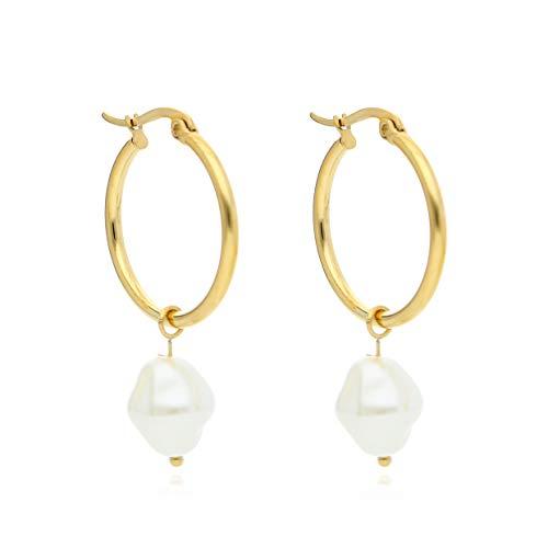 URBANHELDEN Schmuck Creole mit Perle für Damen gold - Ohrringe Damen - Creolen silber mit Perlen, mit exklusiver Schmuckschachtel, tolle Geschenkideen für Frauen