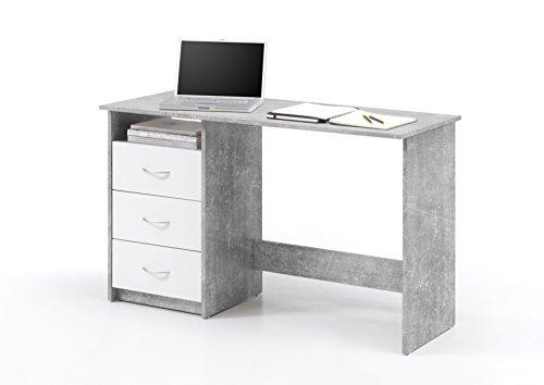 Wohnorama Schreibtisch 3 Schubkästen Adria von Bega Beton/Weiss by