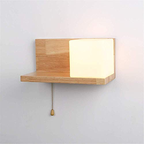 Wandverlichting kamer slaapkamer bedlampje wandplanken lampen Aisle massief hout Japanse Art Pass oorspronkelijke ecologische boom glas + hout wandstaal