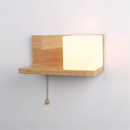 Wandstalen kamer slaapkamer bedlampje wandplanken lampen Aisle massief hout Japanse kunst pas originele ecologische boom glas + houten wandverlichting