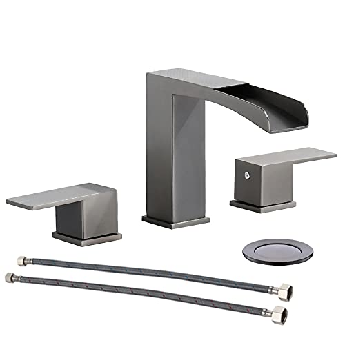 Black Stainless Steel Two Handles 3 Holes Waterfall Bathroom Sink Faucet, with Metal Pop Up Drain Assembly & CUPC Water Supply Lines by Phiestina,NS-WF002-7-BS