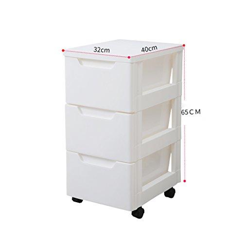 Boîte de rangement de tiroir Armoire de rangement de chevet Boîte de rangement en plastique multicouche 32 * 40 * 65cm, blanc