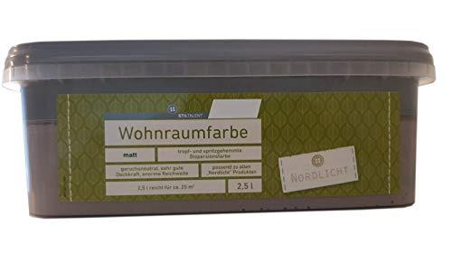 Farbige Hochleistungs-Bunte Wandfarbe mit extrem hoher Ergiebigkeit Wohnraumfarbe Matt 2,5 Liter, Farbe:stein