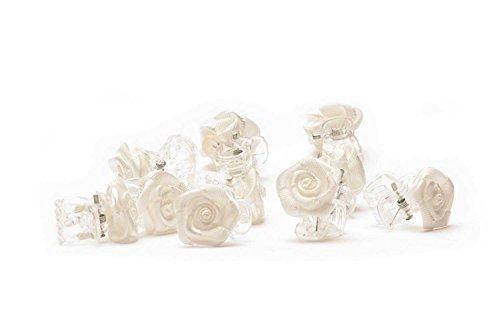 10 Clip di capelli della Rosa - gioielli - Fermaglio per capelli con rosa - Bianco