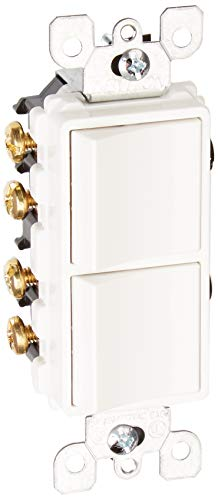 Leviton 5643-W Decora Traditional 3-Way Combination Switch With Ground Screw, 120/277 Vac, 15 A, 1 P, White