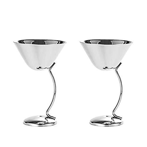 Copas de Martini de acero inoxidable, juego de 2, 5.3 oz/150 ml, champán, cóctel, copas de vino para bar, restaurante, fiesta, viaje plata