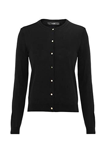 HALLHUBER Basic-Cardigan mit Metallknöpfen gerade geschnitten schwarz, XL