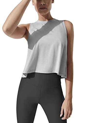Bestisun Womens Cropped Workout Tops Athletic Tank Tops Workout Clothes Cropped Muscle Tank Crop Top Workout Shirts for Women Gray S