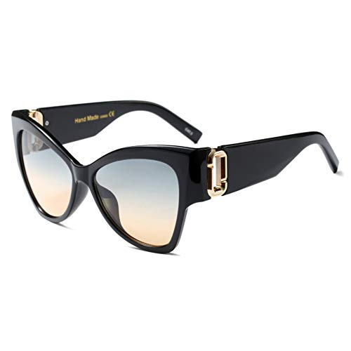 FHXTWB Ojo de Gato Gafas de Sol Mujeres Interruptor de Metal Espejo Gafas de Sol Gafas de Montura Grande Gafas Femeninas