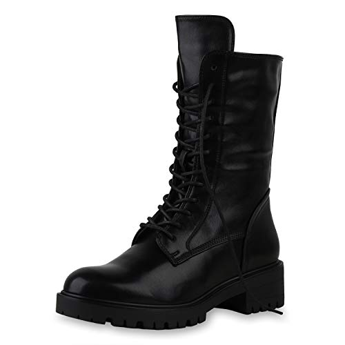 SCARPE VITA Damen Schnürstiefel Leicht Gefütterte Stiefel Blockabsatz Schuhe Profilsohle Schnürer Absatzschuhe Schnür-Schuhe 197165 Schwarz 36