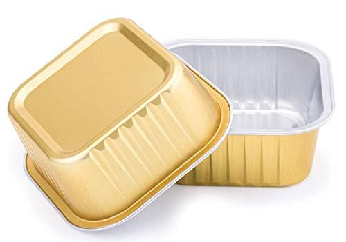 KEISEN Quadratische Einwegbecher aus Aluminiumfolie, 150 ml, für Muffins, Kuchen, Quiche, runde Brot, Kastenform, Ofen, Cupcake, Backen, Utility Auflaufförmchen (Gold)