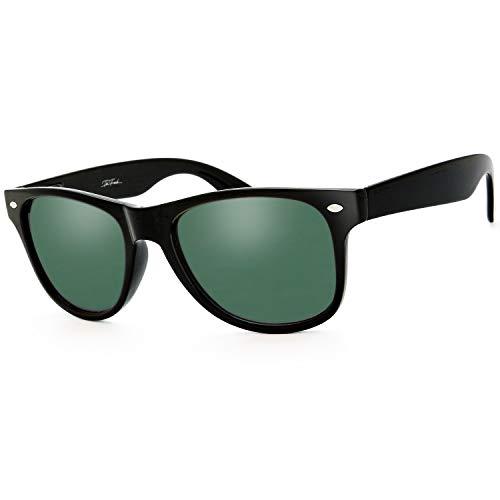 The Fresh Classic Shaped Horn Rimmed Polarized Sunglasses Spring Temple for Men Women (11-Matte Black, Green 15 Polarized)