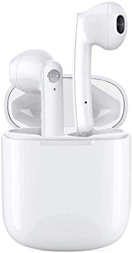 Auricolare Bluetooth Senza Fili, Cuffie Wireless Stereo 3D with IPX5 Impermeabile, Accoppiamento Automatico Per Chiamate Binaurali, Adatto Compatibile con Phone Android Bianca (12S)